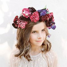 Lush Floral Crown Simple Flower Crown, White Flower Crown, Flower Girl Crown, Floral Crown, Flower Girls, Flower Crowns, Unique Wedding Colors, Unique Weddings, Bohemian Weddings
