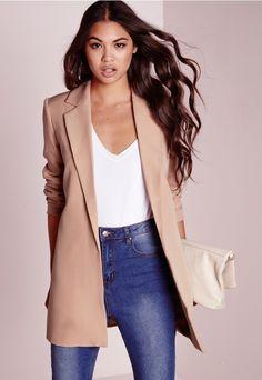 Shoptagr | Longline Blazer Nude by Missguided #fashion #style #trend #gift #women #dress #product #onlineshop #shoptagr