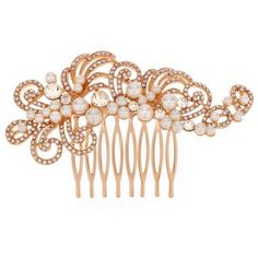 Jon Richard Pearl and crystal rose gold swirl hair comb ❤ liked on Polyvore featuring accessories, hair accessories, hair combs, pearl hair accessories, pearl hair comb, hair combs accessories and jon richard