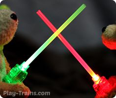 DIY Mini Lightsabers  A quick and easy kids' craft, these lightsabers are perfect for Star Wars birthday parties