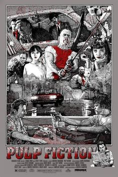 Movie Poster Drawing - Pulp Fiction
