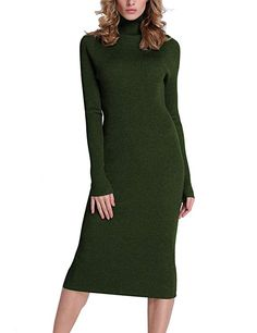 8619a3e288 Rocorose Women s Turtleneck Ribbed Elbow Long Sleeve Knit Sweater Dress  Army Green XL