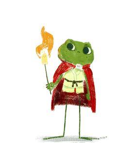 """Flaming marshmallows can make great torches :)"" Desenhos Halloween, Arte Indie, Frog Illustration, Posca Art, Frog Art, Cute Frogs, Art Sketchbook, Cute Drawings, Cute Art"