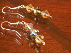 Amber and Smokey Faceted Glass beaded dangle earrings by gr8byz, $9.00