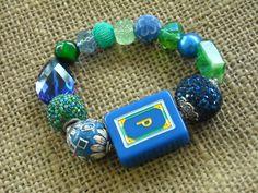 Blue and Green Mahjong Bracelet - Jesse James Beads Jewelry - Mahjong Jewelry by MahjongJewelry on Etsy