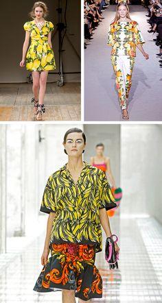 Spring/Summer 2011 citrus & fruit print trends. LOVE the lemon dress. #moschino #stellamccartney #prada