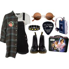 Untitled #25 by twisted-candy on Polyvore featuring Topshop, Dr. Martens, Episode, Floyd, grunge, doc martens, star wars, tacky and 90s