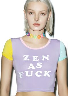 O Mighty Zen As Fuck Ringer Tee ...but only up to a certain point, dude. This dope cropped tee  features a stretchy pastel purple construction, contrasting short sleeves, pink trim, and lettering across the chest reading 'Zen As Fuck.'