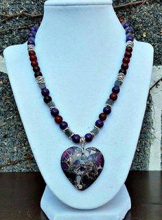 Purple heart necklace- Purple heart pendant- Purple heart necklaces-Gemstone necklaces- Purple jasper heart necklace