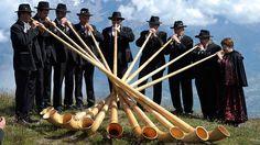 7/22/2012  A group of alphorn players perform during the 11th International Alphorn Festival in Nendaz, Switzerland.