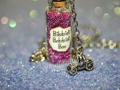 Bibbidi-Bobbidi-Boo Bottle of Magic Necklace and Pumpkin Carriage Charm Cinderella Fairy Godmother Bottle Jewelry, Bottle Charms, Bottle Necklace, Bottle Art, Magic Bottles, Mini Glass Bottles, Bottles And Jars, Disney Necklace, Disney Jewelry