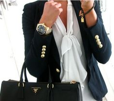 Bow blouse, navy blazer, gold buttons. Preppy fabulousness.