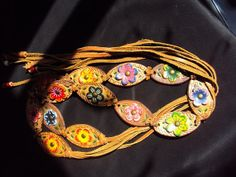 Leather Painted Flower Belt Tan Brown Gold Blue Pink by BandAHeads, $17.00