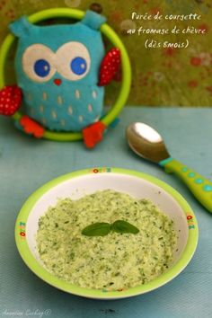 Zucchini puree with goat cheese and basil (for babies from 8 months). - Zucchini puree with goat cheese and basil (for babies from 8 months). To which we can add, rice, do - Baby Cooking, Cooking Time, Zucchini, Baby Eating, Homemade Butter, Baby Finger, Warm Food, Cold Meals, Slow Food