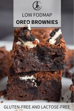 Low FODMAP Oreo brownies Gooey gluten-free Oreo brownies made with gluten-free double cookies. These brownies are low FODMAP and lactose-free and are super simple to make. Oreo Brownies, Brownie Oreo, Oreo Cake, Fodmap Dessert Recipe, Fodmap Recipes, Dessert Recipes, Diet Recipes, Baking Recipes, Gluten Free Brownies
