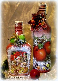 "Photo from album ""Ручная работа on Yandex. Recycled Wine Bottles, Painted Wine Bottles, Lighted Wine Bottles, Painted Wine Glasses, Bottles And Jars, Glass Bottle Crafts, Wine Bottle Art, Decoupage Glass, Christmas Decoupage"