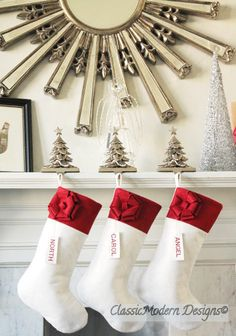 White Christmas Style    These stockings feature white wool felt that mimics the pure beauty of the fallen snow, along with a contrasting