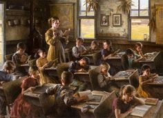 """""""Country Schoolhouse,1879"""" by Morgan Weistling 44"""" X 60"""", Autry National Center Museum 2010. Winner of the Patron's Choice Award 2010"""
