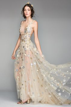 Main Image - Willowby Orion Tulle & Charmeuse Plunging A-Line Gown Wedding Suits, Wedding Gowns, Quirky Wedding Dress, Halloween Wedding Dresses, Bridal Gowns, Wedding Venues, Looks Party, Celestial Wedding, A Line Gown