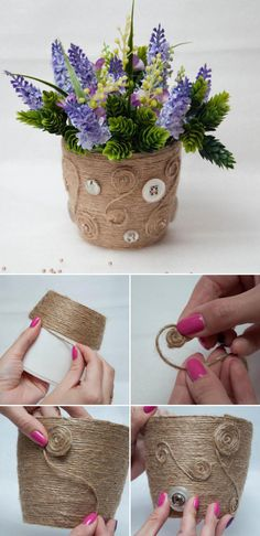 15 Simple Ideas How to Transform a Flower Pot, фото № 6 Jute Crafts, Clay Pot Crafts, Easy Crafts, Crafts For Kids, Diy Craft Projects, Garden Projects, Upcycling Projects, Sisal, Painted Plant Pots