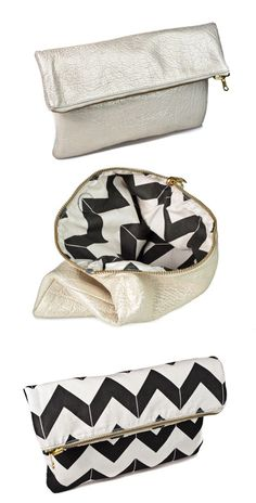 Hammocks & High Tea Chevron reversible clutch in transition