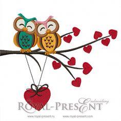 Machine Embroidery Design Happy Owls - 2 sizes