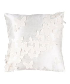 Winter White & Antique White Butterfly Throw Pillow by Surya on #zulily today!