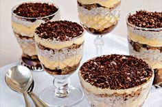 I first ate tiramisu in an Italian restaurant in the Napa Valley in the 80s. While I was judging a restaurant wine and food matching competition some years later, Ramses chef Judith Tabron served her version for our dessert course. It was a delightful – a lovely concoction of chocolate and creaminess. I have since seen all manner of desserts masquerading as tiramisu, sometimes including fruit and often disappointingly solid and dry. Be sure to soak the sponge fingers well before you...