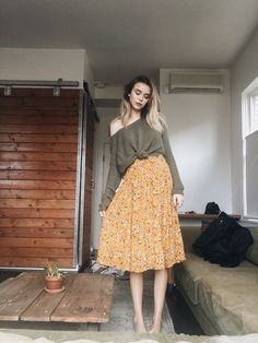 I love the look of a sweater and a skirt. Perfect for transitioning into fall Fall Outfits, Cute Outfits, Fashion Outfits, Womens Fashion, Danielle Victoria, Bohemian Skirt, Pullover, Mellow Yellow, Rock