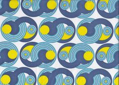 1970s  Cotton Fabric - Blue And Yellow Geometric