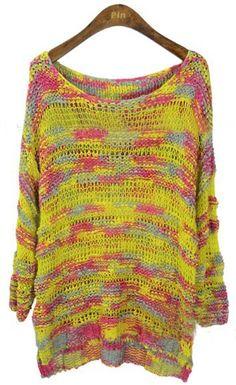 Yellow Scoop Neck Space Dye Dipped Hem Jumper Sweater# bella# cadere