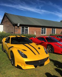 Ferrari F12 TDF painted in Giallo Tristrato w/ Black central stripes Photo taken by: @458mrp on Instagram