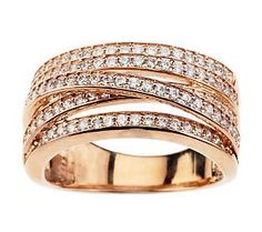 Diamonique 1.00 ct tw Highway Ring, Sterling or 14K Gold Clad