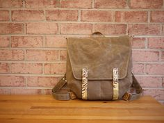 Waxed Canvas Backpack Messenger in Tan 2 in 1 Vegan by solaWu