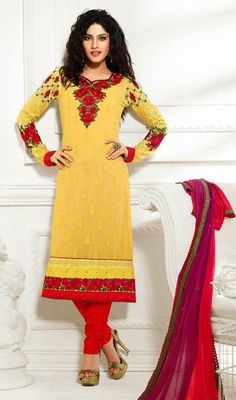 Add a desi twist to your wardrobe by owning this red and yellow georgette embroidered chudidar suit. The lace, patch, resham and stones work appears to be chic and perfect for any affair. Georgette Dresses, Stone Work, Churidar, Straight Cut, Dress Collection, Affair, Desi, Stones, High Neck Dress