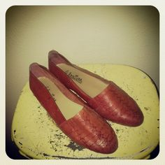 Vintage red orange leather loafers woven by SunDriedTomatoes, $30.00