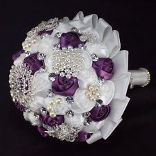Purple Brooch Bridal Bouquet | ... Luxury purple white rose Silver crystal brooch bridal wedding bouquet