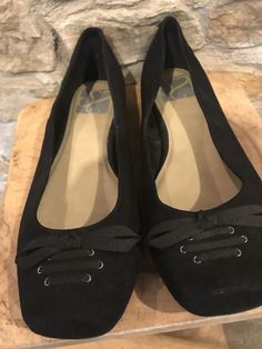60a89ef13c2 Evans Black Suede Wide Fit Ballerina Flats lace up detail at front In suede  leather upper