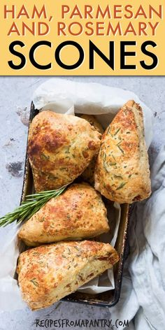 Ham, Parmesan and Rosemary Scones are deliciously savoury and totally crave worthy. Perfect for serving up as breakfast, brunch and at your afternoon tea. Sweet Scones Recipe, Ham Recipes, Cooking Recipes, Cheese Scones, Savory Scones, Savory Breakfast, Breakfast Recipes, Perfect Breakfast, Breads