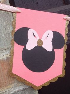 NUEVO color rosa Minnie Mouse feliz cumpleaños arco por Skrapologie Minnie Birthday, 3rd Birthday, Happy Birthday, Diy Cake Topper, Gold Party Decorations, Pink Minnie, Banner Template, Color Rosa, Pink And Gold