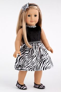 Wild Party - Zebra Party Dress with Matching Shoes and a Bow - 18 Inch American Girl Doll Clothes: Toys & Games