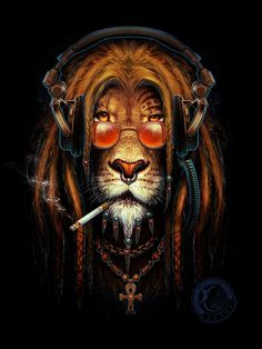 whitesoulblackheart: Lion rasta by Kamila Sharipova © Dont worry bout a thing,. whitesoulblackheart: Lion rasta by Kamila Sharipova © Dont worry bout a thing,cause every little thing gonna be all ri Art Rasta, Rasta Lion, Tatoo Art, Lion Wallpaper, Lion Art, Dope Art, Art Graphique, Black Art, Lions