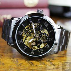 Night Black & Gold - Mechanical Skeleton #Watch
