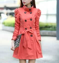 Stylish Fashion Lady-Coat  Coat (Black,Khaki,Watermelon)