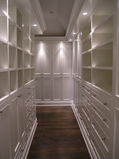 master closet set up like a hall not a room... Perfect!!