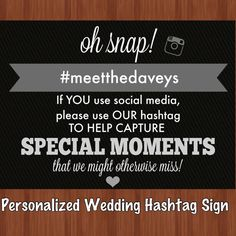 Social Media Wedding Hashtag Sign  Social Media by CraftonCrafters