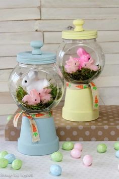 Make an adorable spring bunny gumball machine craft for your Easter decor or spring decor this year! Easter Crafts For Adults, Crafts For Kids, Easter Ideas, Preschool Crafts, Decor Crafts, Diy Crafts, Gumball Machine, Bunny Crafts, Diy Easter Decorations