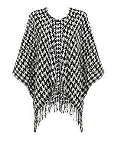 Black Pattern (Black) Monochrome Houndstooth Blanket Wrap | 321104009 | New Look