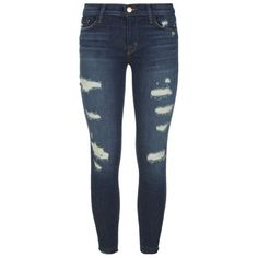 J Brand Distressed Skinny Cropped Jeans (1.855 UYU) ❤ liked on Polyvore featuring jeans, pants, bottoms, skinny fit jeans, ripped skinny jeans, destroyed skinny jeans, torn skinny jeans and distressed jeans
