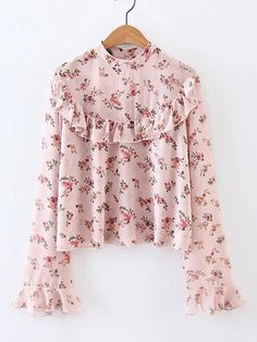 Shop Bell Sleeve Ruffle Trim Floral Blouse online SheIn offers Bell Sleeve Ruffle Trim Floral Blouse more to fit your fashionable needs Shop Bell Sleeve Ruffle Trim Flo. Streetwear Mode, Streetwear Fashion, Cute Blouses, Blouses For Women, Shirt Blouses, Blouse Styles, Blouse Designs, Dress Designs, Hijab Fashion